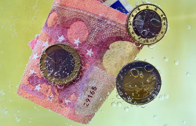 Geld_Münzen_Geldschein_im-wasser